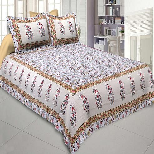 Jaipur Fabric Marble Italica Yellow Pink Colored Floral Printeded Double Bedsheet With Two Pillow Cover