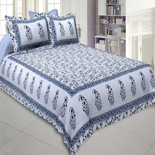 Jaipur Fabric Marble Italica Blues White Colored Floral Printeded Double Bedsheet With Two Pillow Cover