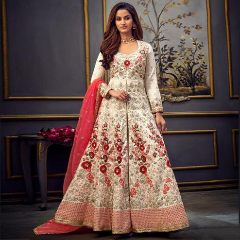Adorable White Coloured Embroidered Partywear Pure Silk Anarkali Suit