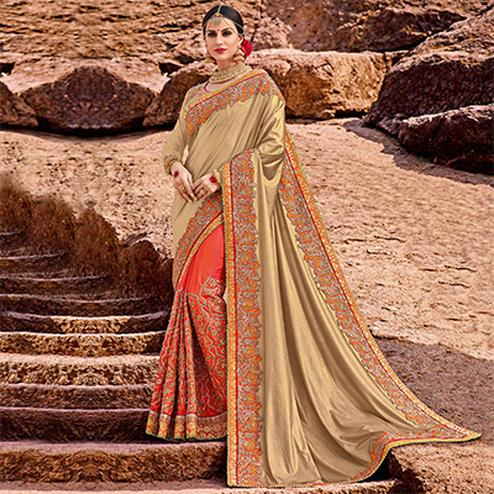 Ravishing Golden-Orange Colored Designer Partywear Half N Half Silk Jacquard And Lycra Saree