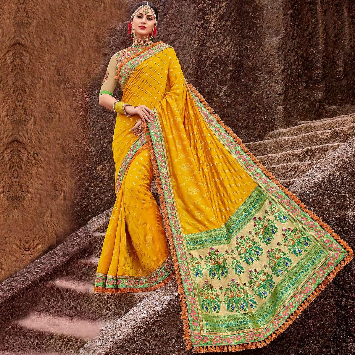 Lovely Yellow Colored Designer Partywear Satin Jacquard And Lycra Saree
