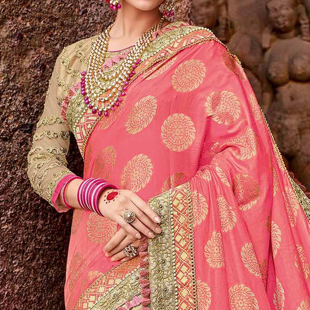 Beautiful Pink-Beige Colored Designer Partywear Half N Half Lycra And Silk Heavy Saree