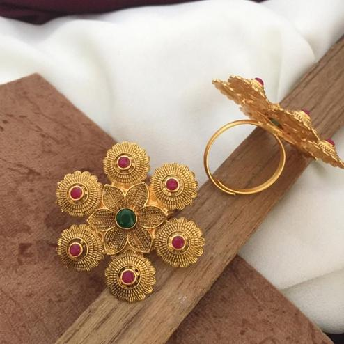 VIHA - Copper Gold Plated Traditional Ring For Women And Girl