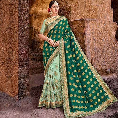 Attractive Green Colored Designer Partywear Half N Half Lycra And Silk Saree