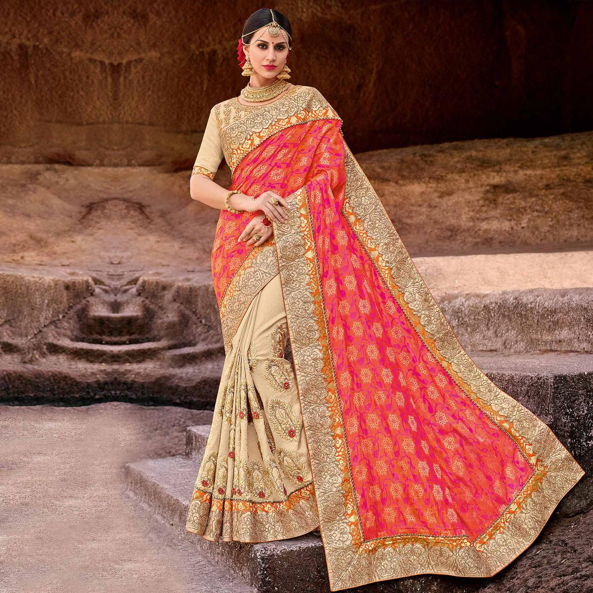 Adorable Pink-Beige Colored Designer Partywear Half N Half Lycra Saree