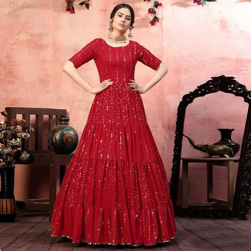 Pleasant Red Colored Party Wear Fancy Golden Sequence Georgette Anarkali Long Gown