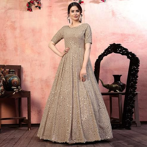 Opulent Beige Colored Party Wear Fancy Golden Sequence Georgette Anarkali Long Gown