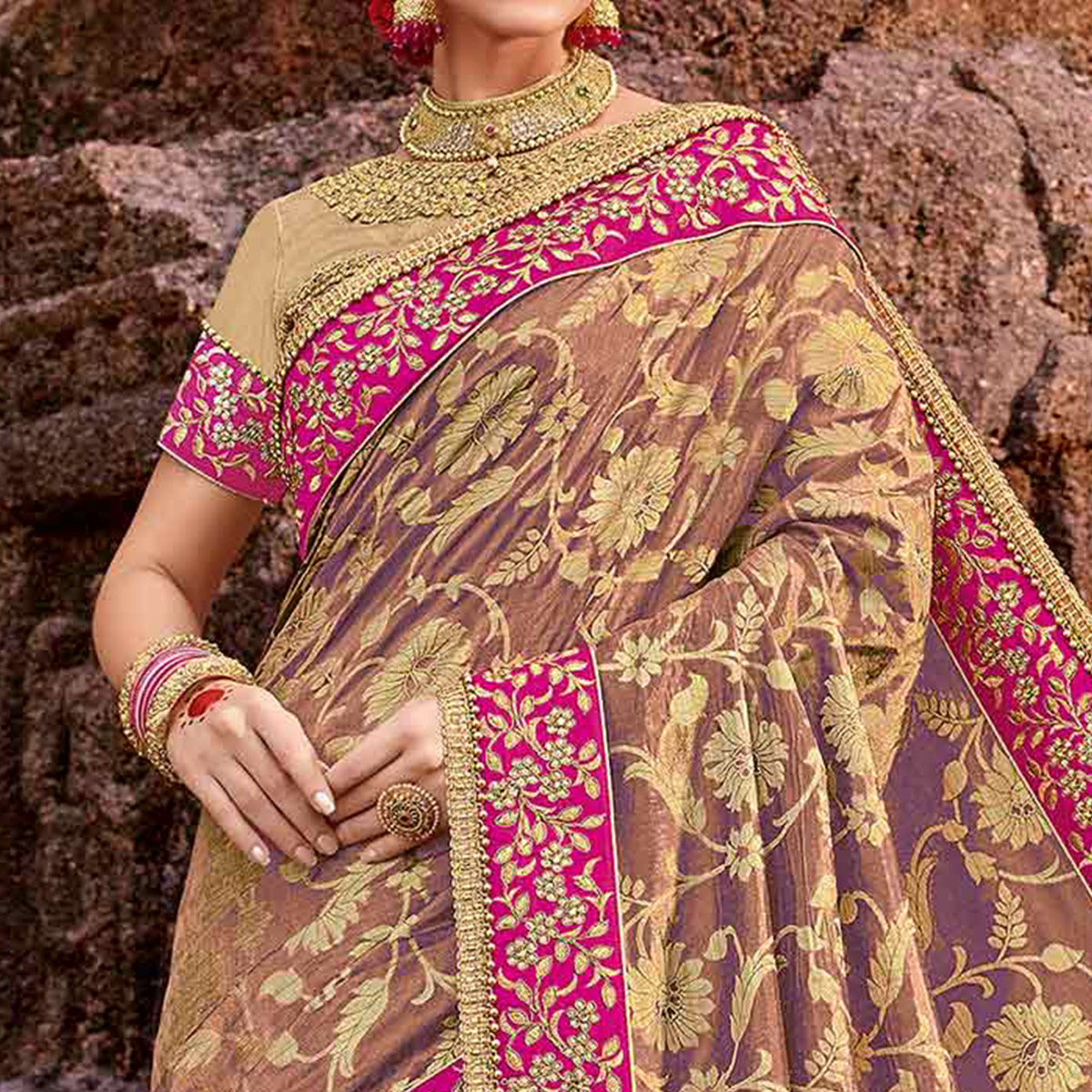 Classy Beige Colored Designer Partywear Half N Half Lycra And Silk Saree