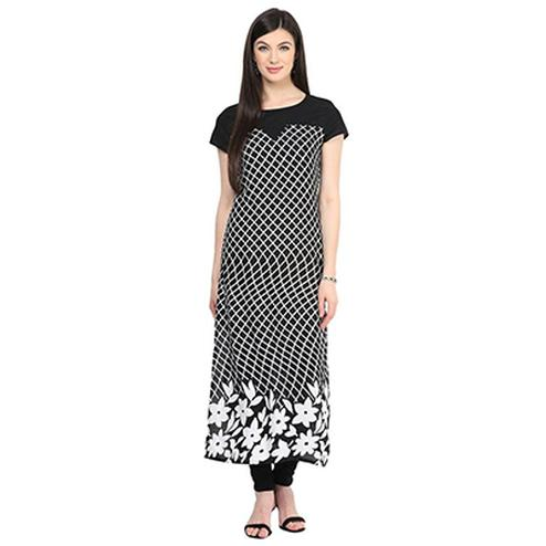 Black Crepe Casual Wear Printed Kurti
