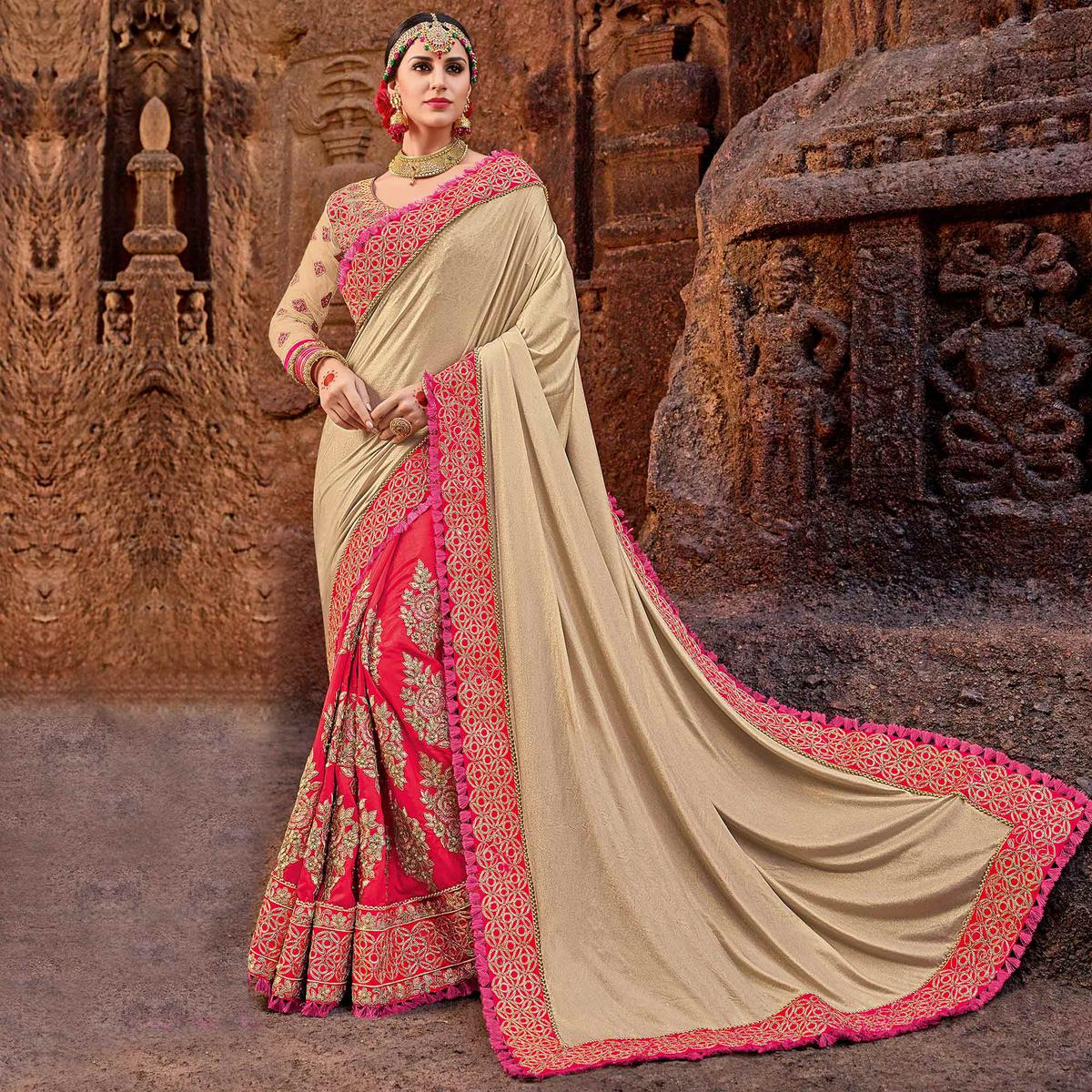 Elegant Beige-Red Colored Designer Partywear Half N Half Lycra Saree