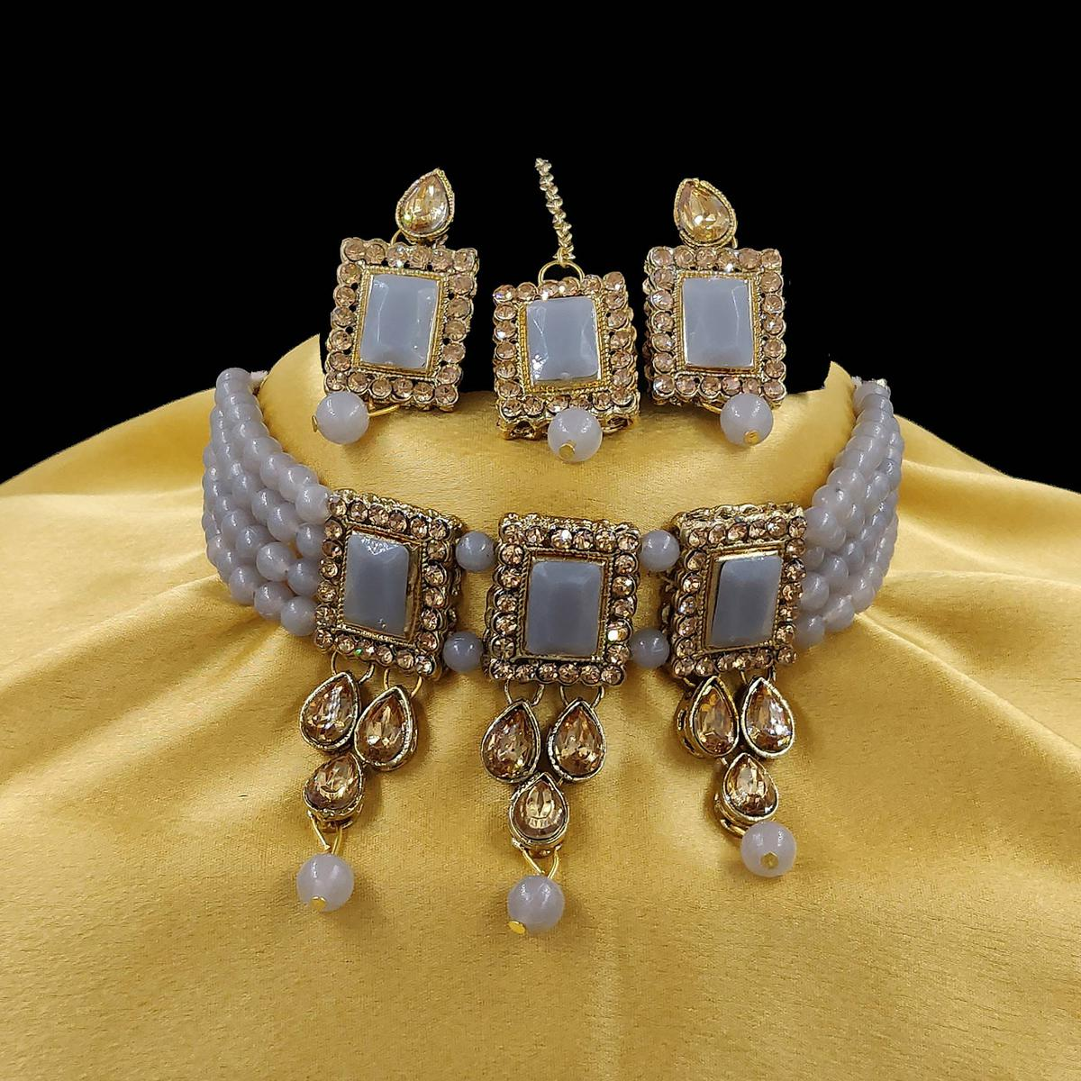 ZaffreCollections - Multistrand Grey Beads and Stones Traditional Choker Necklace & Maang Tikka Set for Women