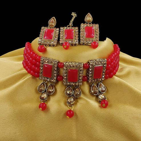 ZaffreCollections - Multistrand Red Beads and Stones Traditional Choker Necklace & Maang Tikka Set for Women