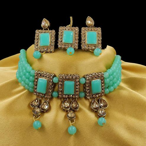 ZaffreCollections - Multistrand Sea Green Beads and Stones Traditional Choker Necklace & Maang Tikka Set for Women