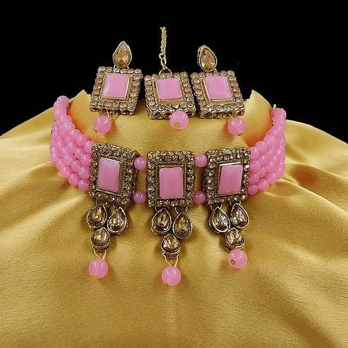ZaffreCollections - Multistrand Pink Beads and Stones Traditional Choker Necklace & Maang Tikka Set for Women