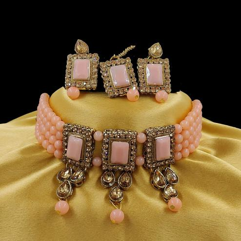 ZaffreCollections - Multistrand Peach Beads and Stones Traditional Choker Necklace & Maang Tikka Set for Women