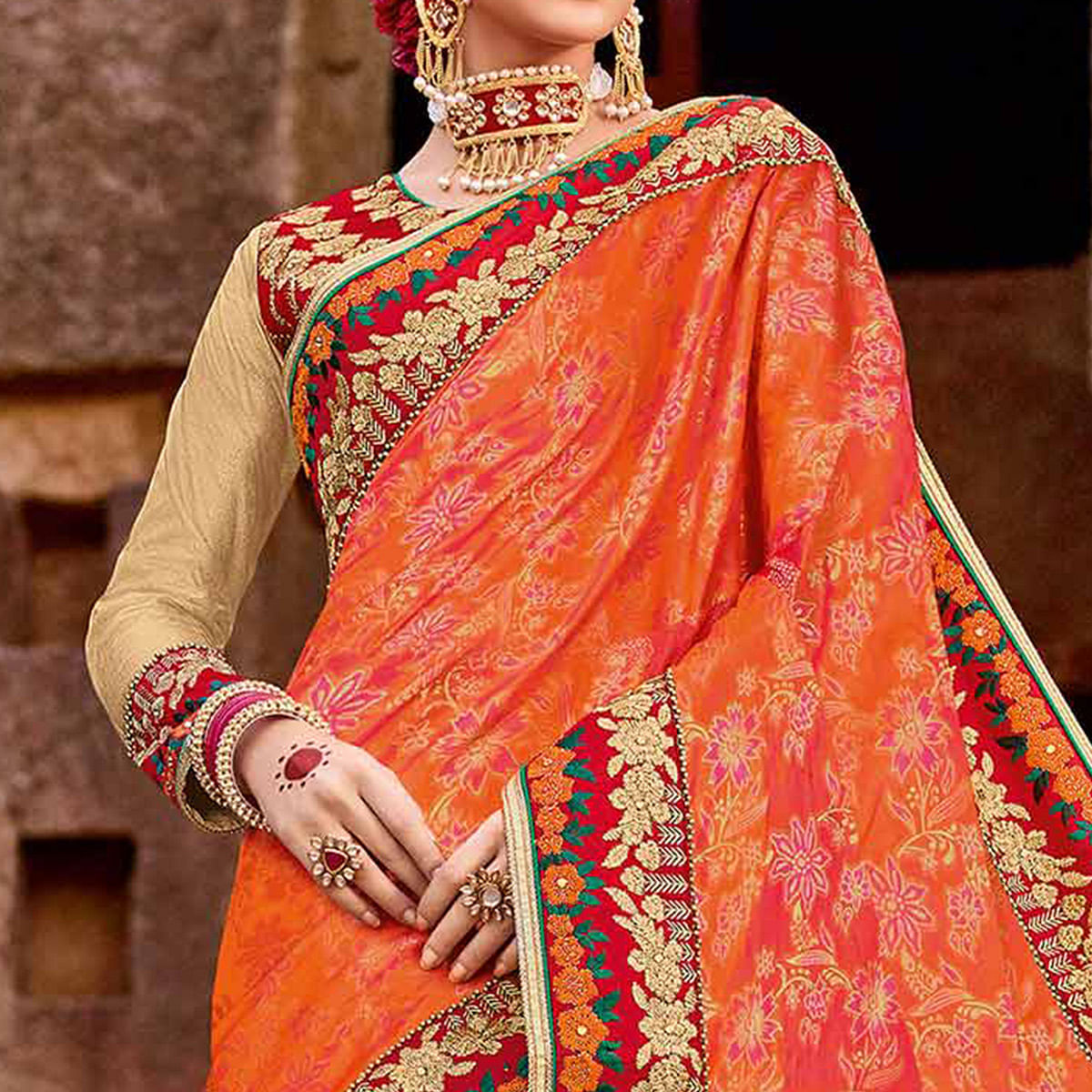 Flamboyant Orange-Beige Colored Designer Partywear Half N Half Lycra Saree