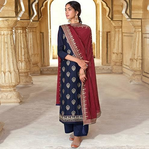 Stylee Lifestyle Navy Blue Colored Art Silk Embroidered Dress Material