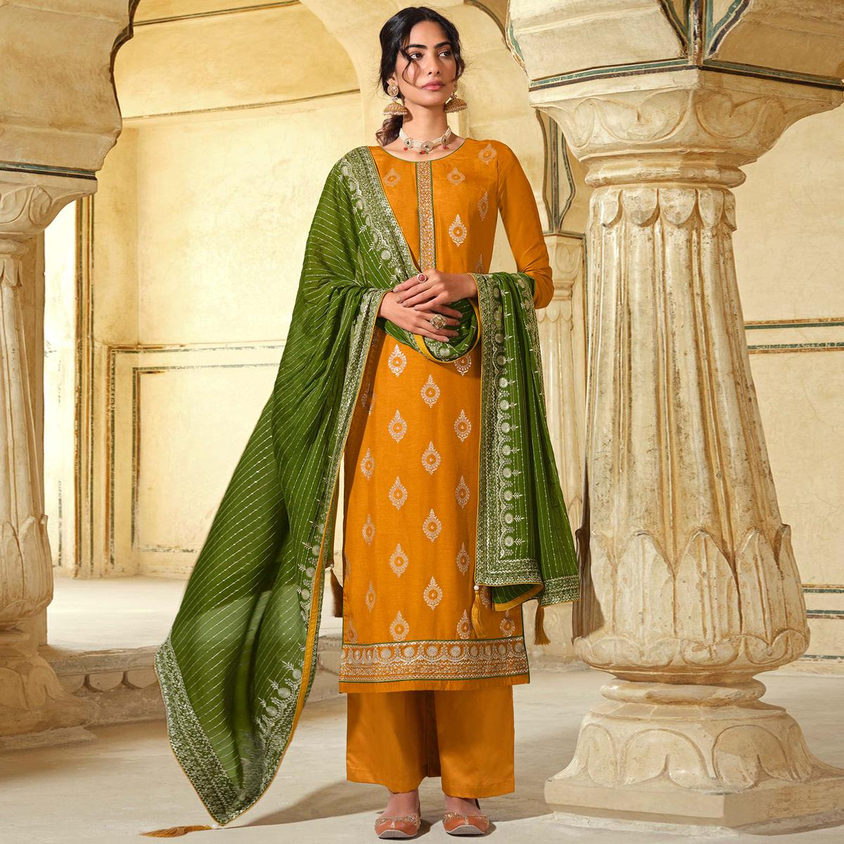 Stylee Lifestyle Yellow Colored Art Silk Embroidered Dress Material