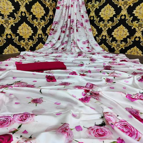 Adorable White-Pink Colored Casual Wear Digital Floral Printed Japan Satin  Saree