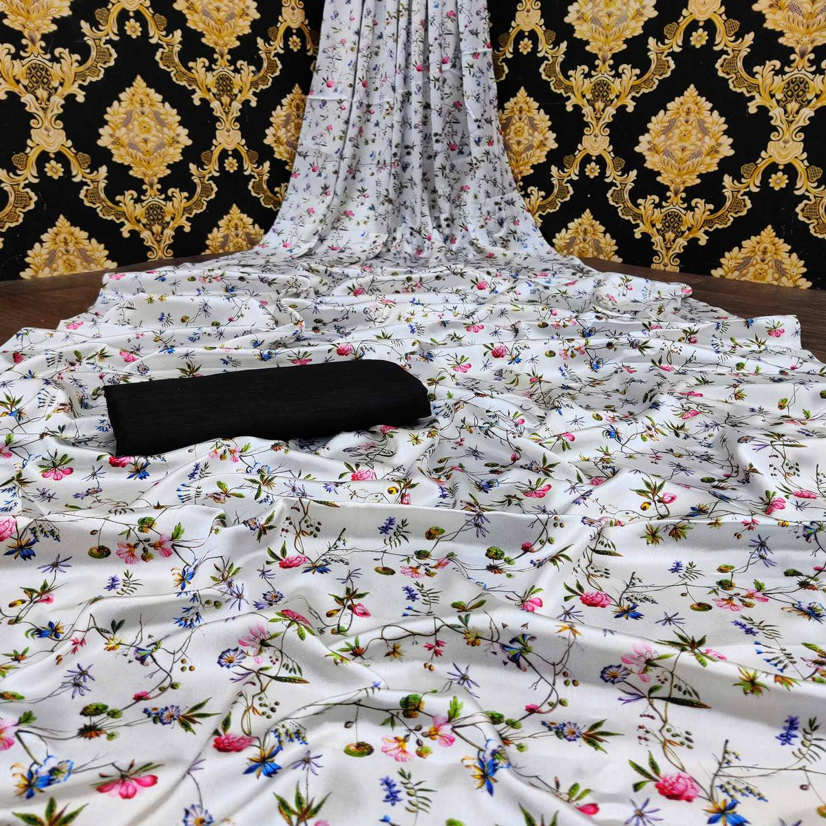 Attractive White-Black Colored Casual Wear Digital Floral Printed Japan Satin  Saree