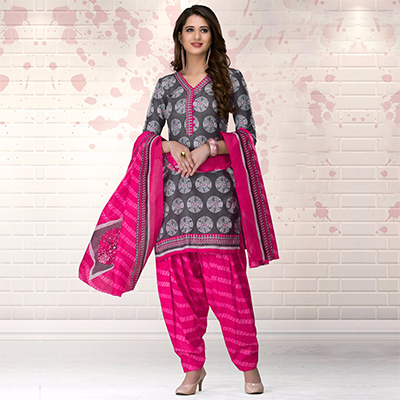 Beautiful Gray-Pink Colored Casual Printed Pure Cotton Dress Material