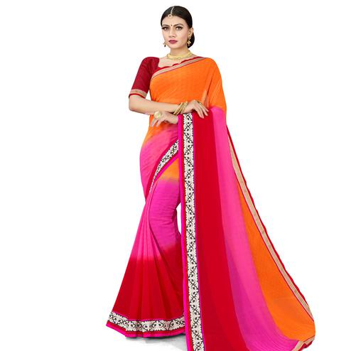 Ravishing Multicolored Colored Party Wear Georgette Saree