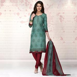 Teal Green-Maroon Colored Casual Printed Pure Cotton Dress Material