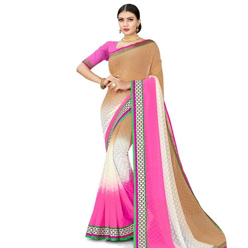 Engrossing Multicolored Colored Party Wear Georgette Saree