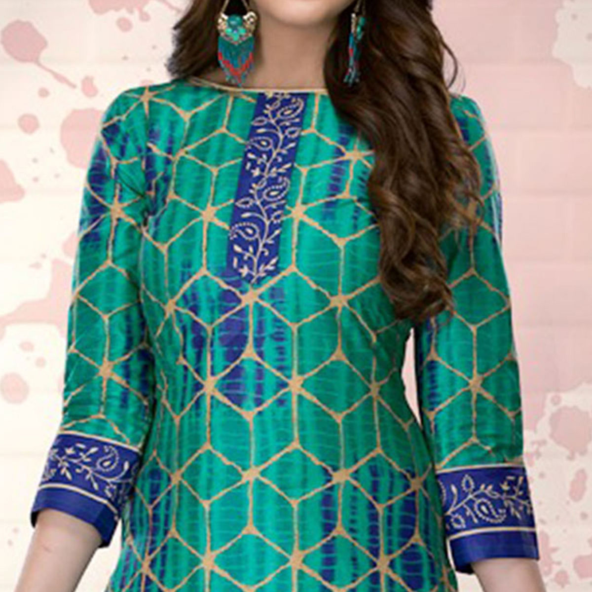 Green-Blue Colored Casual Printed Pure Cotton Dress Material