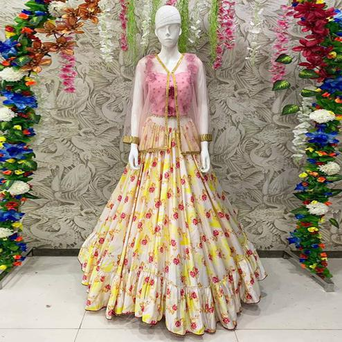 Arresting Off White Coloured Partywear Embroidered Dual Satin Lehenga Choli