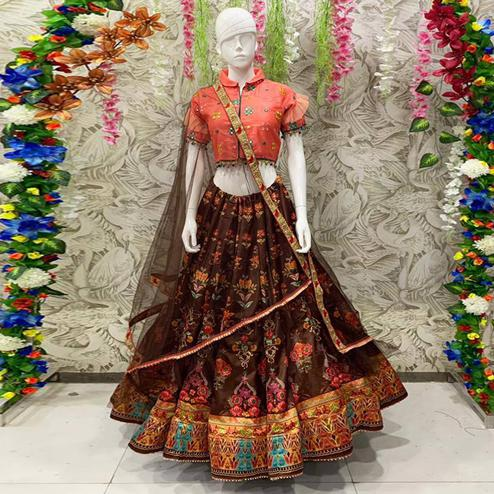 Exotic Brown Coloured Partywear Embroidered Dual Satin Lehenga Choli