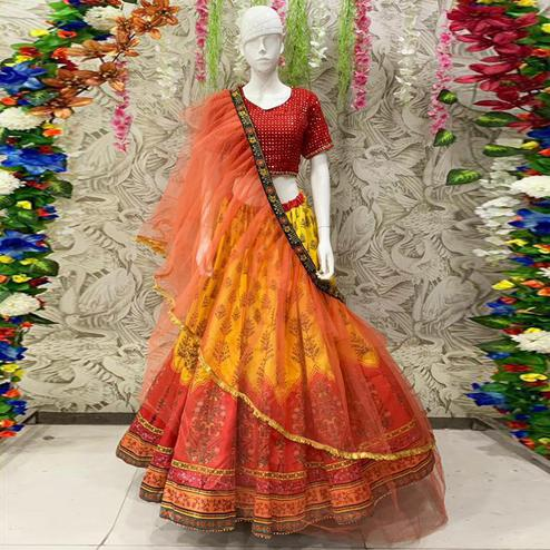 Sophisticated Yellow & Red Coloured Partywear Embroidered Dual Satin Lehenga Choli
