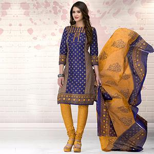 Blue-Yellow Colored Casual Printed Pure Cotton Dress Material