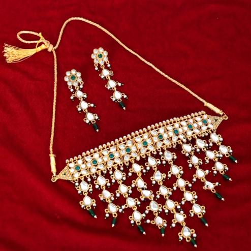 AJ Home - Gold Plated Green And Golden Designer Necklace & Earrings Sets
