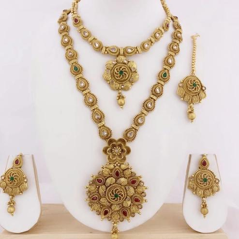 VIHA - Copper Gold Plated Combo Jewellery Set For Women And Girl