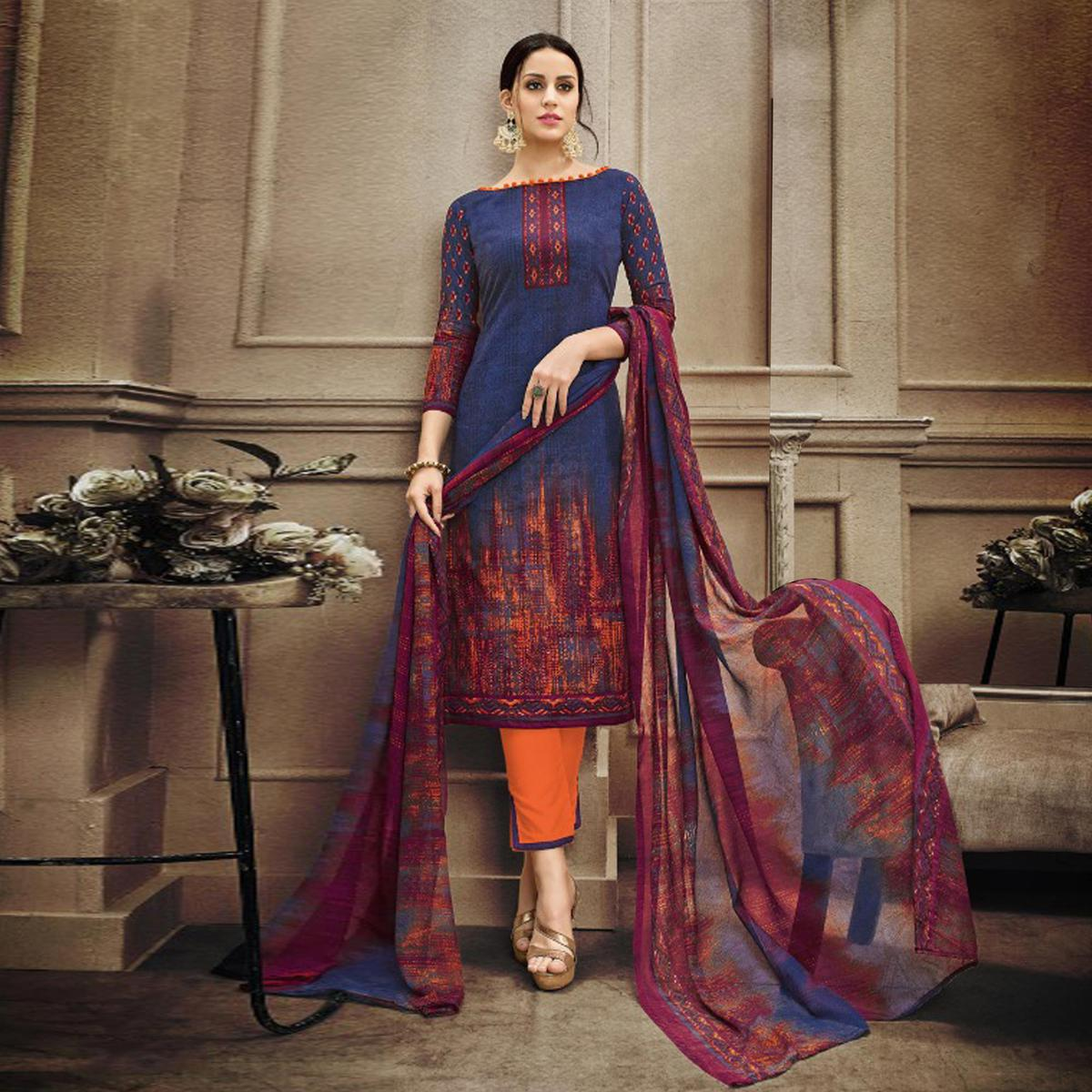 Dark Blue-Orange Colored Designer Pakistani Printed Pure Cambric Cotton Dress Material
