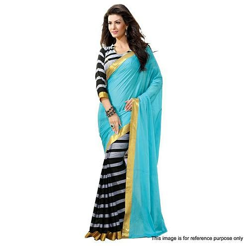 Blue - Grey Half & Half Saree