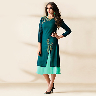 Green Heavy Georgette Layered Kurti