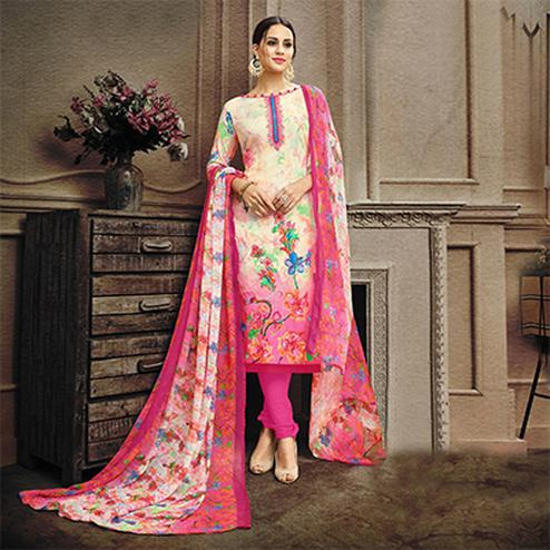 Cream-Pink Colored Designer Pakistani Floral Printed Pure Cambric Cotton Dress Material