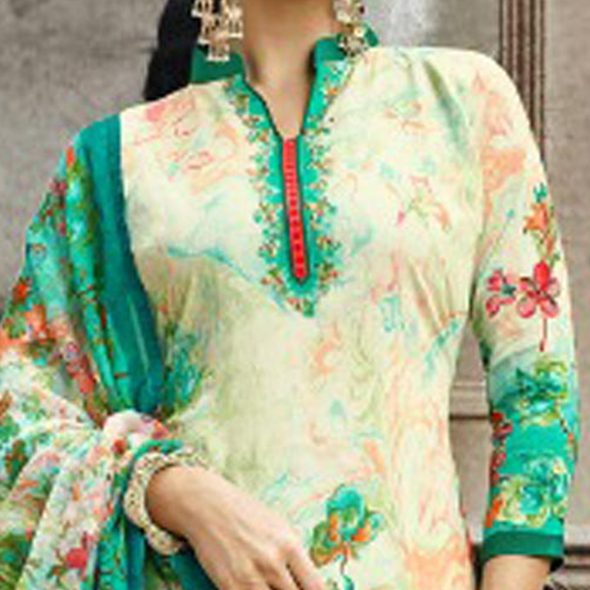 Cream-Green Colored Designer Pakistani Floral Printed Pure Cambric Cotton Dress Material