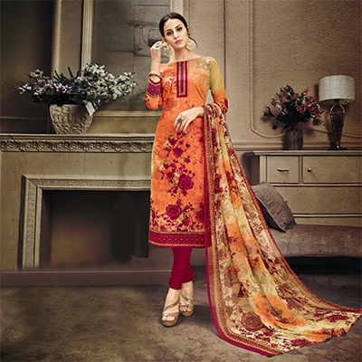 Orange-Maroon Colored Designer Pakistani Floral Printed Pure Cambric Cotton Dress Material