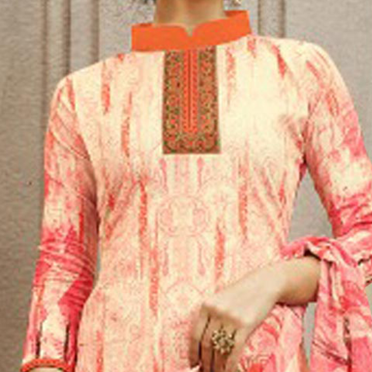 Orange Colored Designer Pakistani Floral Printed Pure Cambric Cotton Dress Material