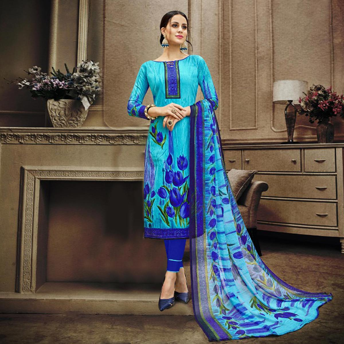 d4f4111e23 Buy Blue Colored Designer Pakistani Floral Printed Pure Cambric Cotton  Dress Material Online India, Best Prices, Reviews - Peachmode