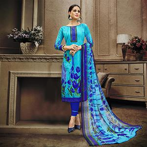 Blue Colored Designer Pakistani Floral Printed Pure Cambric Cotton Dress Material