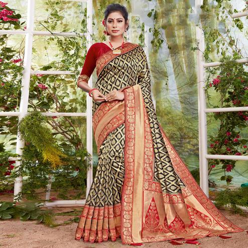 Lovely Black Coloured Partywear Printed Silk Saree