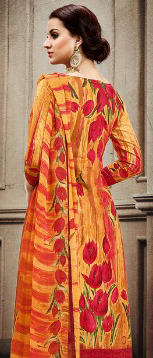 Yellow Colored Designer Pakistani Floral Printed Pure Cambric Cotton Dress Material