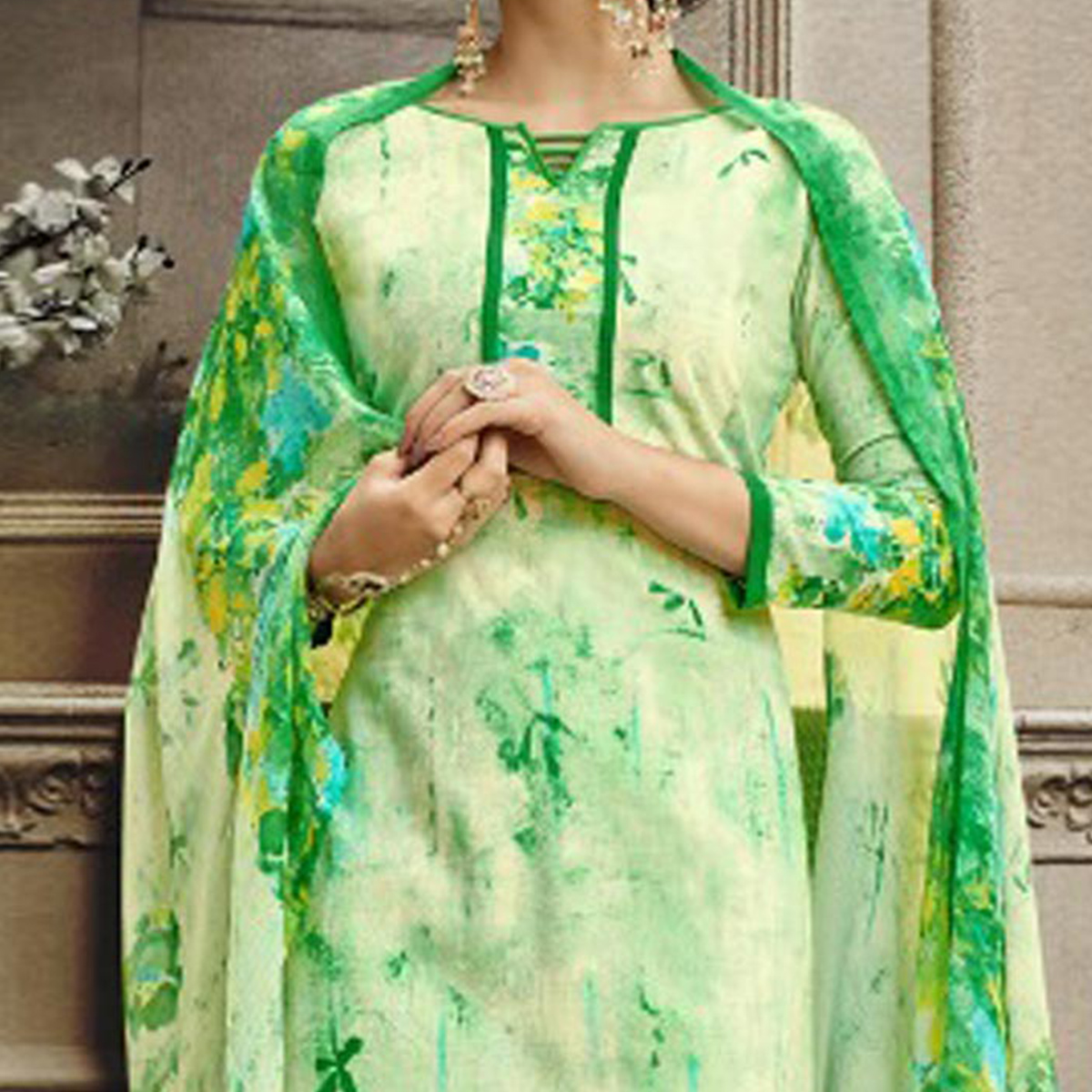 Green Colored Designer Pakistani Floral Printed Pure Cambric Cotton Dress Material