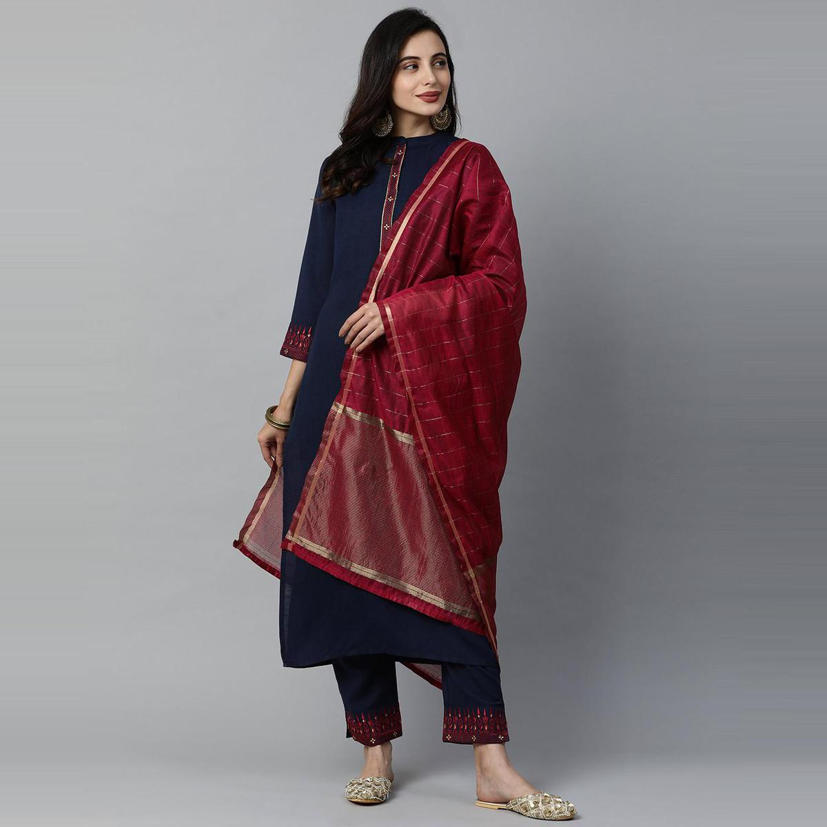 Indo Era - Navy Blue Embroidered Straight Kurti Pant with Dupatta Sets