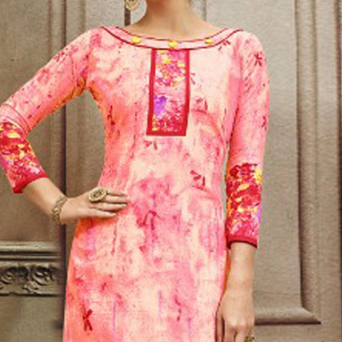 Pink Colored Designer Pakistani Floral Printed Pure Cambric Cotton Dress Material