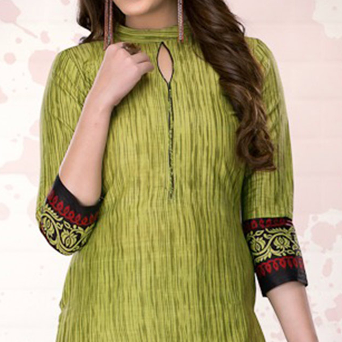 Green-Black Colored Casual Printed Pure Cotton Dress Material